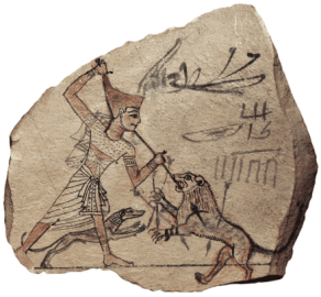 Ancient Pharaoh and his Canis Lupus Familiaris Dog hunting together